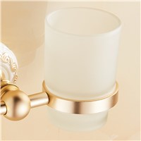 FLG Aluminum Gold Flower for Double Tumbler Holders Toilet Ceramic Cups Bathroom Accessories Toothpaste Cup  Wall Mount