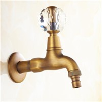 Antique Brass Crystal Handle Extended Mop Pool Taps Wall Mount Single Lever Cold Water Sink Faucet