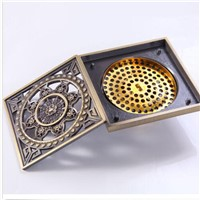 "POIQIHY New 4"" 10*10cm Euro Square Antique Brass Art Carved Flower Bathroom Sanitary Floor Drain Waste Grate New Drain Sink"