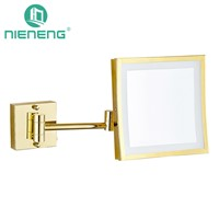 Nieneng  Makeup Mirrors LED Wall Mounted Folding LED Light Mirror 3X Bath Mirror Make up Toilet Magnifying Mirror ICD60522