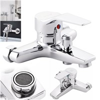 Brass Chrome Bathroom Tub Shower Faucet Cold and Hot Water Shower Tap Wall Mounted Bath Valve Mixer Tap Bathroom Faucet