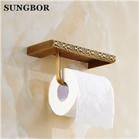 Twin Flowers Series Carving Black Brass Toilet Paper Holders Mobile Phone Holder Bathroom Accessories Paper Shelf Phone Rack