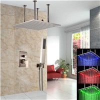 20 inches LED Light Shower Head with ABS Hand Shower Ceiling Mounted Shower Mixer Faucet