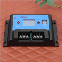20A 12/24V USB LCD Display Smart Solar Regulator Charge Controller Temperature Compensation for Light Solor Systerm