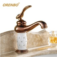 ORENBO Bathroom Faucet Single Handle Mixer Chrome Torneira Gold Faucet Brass with Diamond Crystal Body Tap Brass Sink Faucet