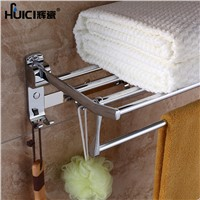 HUICI  50CM Stainless Steel Chrome Towel Racks Movable Bath Towel Holder Towel Racks Brand Bathroom Accessories