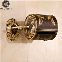 Artistic Carved Antique Bathroom Paper Tissue Box Wall Mounted Roll Paper Holder 100% Brass Copper