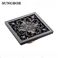 10x10cm Brass Antique Brushed Floor Drain Bathroom Kitchen Shower Roon Porch Square Floor Waste Drain Grate Sanitary DL-0502F