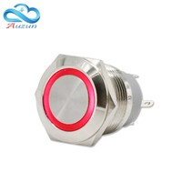 19mm self-locking metal push button switch short of large current 10A ring button 6V12V24V220V red blue green white yellow
