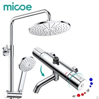 Micoe thermostatic shower faucet suite bathroom copper faucet 38 to 49 degrees shower head adjustable ABS three-function nozzle