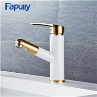 Fapully Luxury Gold Bathroom Faucets Pull Out Brass Basin Mixer Faucet Cold and Hot Bathroom Taps