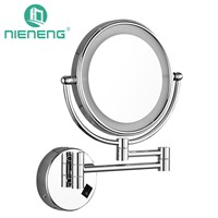 Nieneng Bathroom LED Makeup Mirrors 90-260V Double Side Make Up LED Light Mirror Brightness Copper Toilet Mirror Tool ICD60530