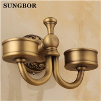 Bathroom Brass antique porcelain Double tumbler cup holder toothbrush holder bathroom accessory sanitary ware bathroom ZL-8502F
