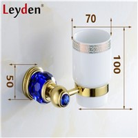 Leyden Luxury Golden Brass& Crystal Cup Tumbler Holder European Royal Wall Mounted Toothbrush Cup Holders Bathroom Accessories