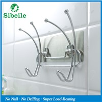 SBLE Stainless Steel Wall Mounted Cloth Towel Rack Suction Cup Hook Holder Bathroom Towel Coat Cloth Hat Bag Hanger Hook