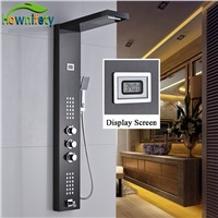 Oil Rubbed Bronze Bathroom Shower Faucet Thermostatic Shower Panel Waterfall and Rainfall Shower Head with Hand Shower
