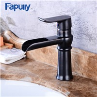 Fapully Black Basin Faucets Waterfall Faucet Bathroom Vanity Single Handle Bathroom Tap Sink Faucet Torneira