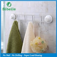 SBLE 46CM Long Towel Bar With Powerful Vacuum Suction Cup Tableware Cloth Corner 4 Hang Hooks Storage Shelf Bathroom Accessories