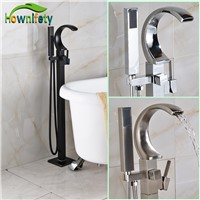 Oil Rubbed Bronze Bathroom Tub Mixer Tap Floor Standing Bathtub Faucet with Hand Shower Floor Mounted