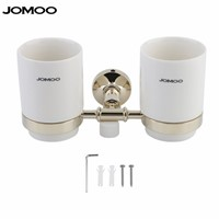 JOMOO  Wall Mounted Double Tumbler Chrome Plated Toothbrush Holder with Dual Ceramic Cups Modern Bathroom Accessories
