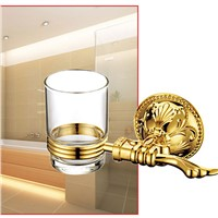 Luxury gold brass Bathroom single  Glass Tumbler with Holder Wall Mount Toothbrush Holder