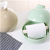 Lovely Cute Design PP Round Ball Shape Towel Box Modern Solid Color Home Living Room Dining Room Tissue Organizer Box