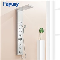 Fapully Rain Waterfall Shower Panel Body Massage Jets Shower Faucet Column with Handshower