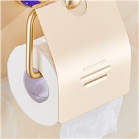 Fapully Gold Paper Holder Luxury Crystal Aluminum Roll Holder Bathroom Accessories Bath Hardware