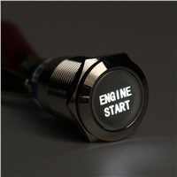 New 12V 19mm Waterproof Car Metal Momentary Engine Start Push Button Switch LED