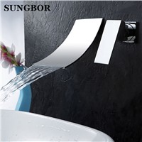 Bathroom faucet Waterfall basin faucet Into the wall washbasin water tap Single handle Double hole basin faucet LT-304L