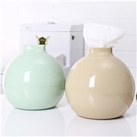 PP Round Ball Shape Towel Box Solid Color Home Living Room Dining Room Bathroom Tissue Organizer Box Storage Case Green/Yellow