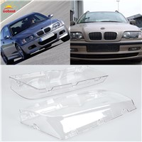 2pcs Car Headlight Cover Case Clear Right/Left Headlight Lens Shell Lamp Assembly For BMW E46 1998 1999 2000 2001
