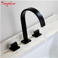 2017 New Arrival Double Lever Handle Square Bathroom Walls Matt Black Faucet Mixer Three Hole Basin Hot And Cold Water Wash Tap