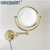 YANKSMART Bathroom Make Up Mirror Golden Polished Space Aluminium Metal Materials Round Dual Arm Extend Bathroom Mirror TKL014