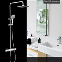 JMKWS Thermostatic Bathroom Shower Set Bathtub Faucet Mixer 38 Degrees Exposed Mixing Valve Brass And ABS Rain Shower Faucets
