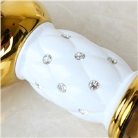 OUBINI Soild Brass Gold Bathroom Wash Basin Sink Faucet Diamond Crystal Body Tap Single Handle Vessel Vanity Tap Mixer