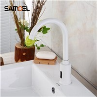 High Quality touchless white Sensor Faucet mixer for bathroom Sink water saving Automatic infrared Inductive Tap
