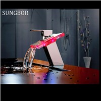 Bathroom 3 Colors change LED Battery Bathroom Basin Mixer Tap Sink Glass Chrome Brass Deck Mounted Faucet AL-7191L