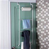 Metal 4-Layer Trapezoidal Storage Holder Nail-free Hanging Over Door Towel Racks Bathroom Storage Shelves Hot Search