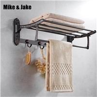 Brass folding black bath towel rack Active bath towel rack bathroom towel holder Antique Double towel shelf 777 series