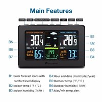Houzetek W001 Hygrometer Thermometer Wireless Full-Color Screen Digital USB Outdoor Barometric Pressure Weather Station Sensor