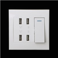 1Pc 220V 10A Wall Switch Socket 4 Port USB Charger Power Outlet Adapter Panel