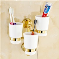 WORID brand classic brass copper cup&Tumbler holder with three ceramic cups X-5506
