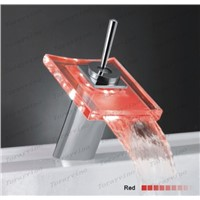 Square LED Bathroom Basin sink Faucet waterfall bathroom vanity Mixer Tap tap Z09