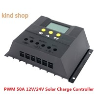 12V/24V 50A Auto Solar Regulator Solar Charger Controllers LCD Display Solar Battery Charge Controller PWM Charging for Lighting