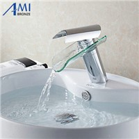 Bathroom sink basin mixer tap chrome polished glass waterfall brass round Faucet BF005