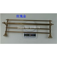 Brass double towel racks hardware accessories in titanium, Rose gold, Bronze and chrome