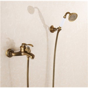 Europe Design Antique Brass Finish House Construction Bathroom Hot and Cold Water Shower Faucet Set/Wall Mounted Bathtub Faucet