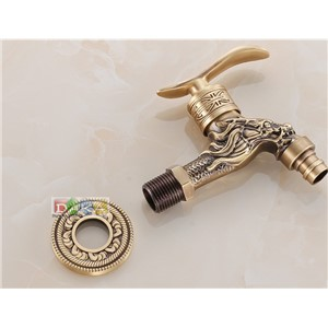 2016 Garden Use Bibcock Faucet Tap/ Antique Brass  Euro Art carving Bathroom Wall Mount Washing Machine Water Faucet Taps 597