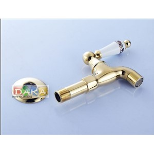 Ceramics Handle Gold Finish Design Brass Bibcock Faucet Tap/Mop Pool Taps/ Bathroom Wall Mount Washing Machine Water Faucet Taps